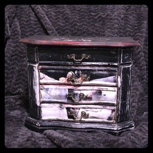 Original vintage shabby chic jewelry chest ballet